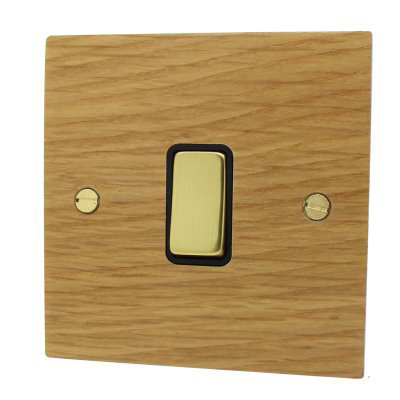 Flat Wood Veneer  Oak / Polished Brass   Sockets & Switches