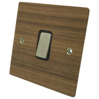 Flat Wood Veneer  Walnut / Satin Stainless   Sockets & Switches