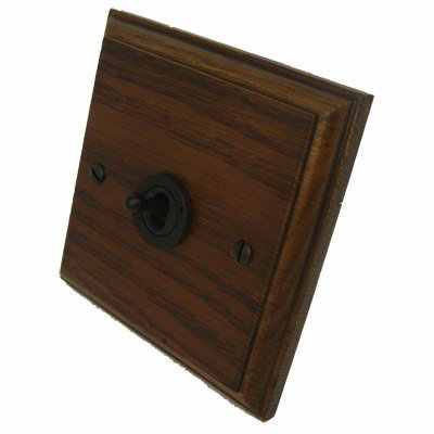 Jacobean Medium Oak - Black Nickel Jacobean Medium Oak Toggle / Dolly Switch
