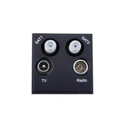 Sat1 sat2 tv radio black av quadaplex sat tv fm for Modular quadplex