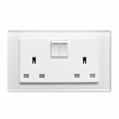 RetroTouch Crystal  White Glass   Sockets & Switches