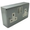 Satin Chrome Sockets & Switches Surface Mount Boxes (Wall Boxes) - Click to see large image