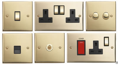 Edwardian cast polished brass intermediate toggle switch - Intermediate floor casting ...