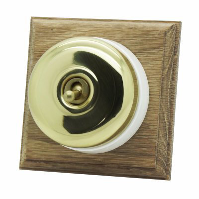 Vintage (Metal) Dome  Polished Brass / Natural Oak   Sockets & Switches